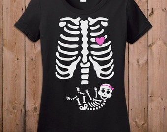 Pregnant Skeleton Shirt Pregnancy Halloween Costume Maternity Skeleton T Shirt Baby Girl Halloween Pregnancy Announcement Shirt Ladies TM-34