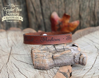 Personalized leather bracelet leather family engraved leather bracelet engraved leather cuff gift for dad gift for mom
