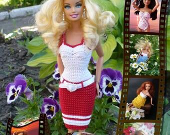 PDF Doll Pattern Crochet 7 outfits for Barbie-type dolls By Kasatka fashion