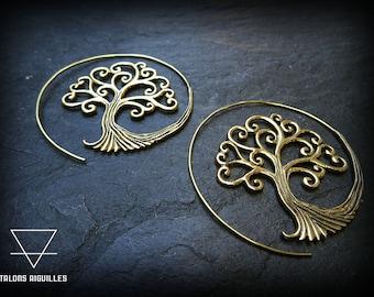 Boucles d'oreille spirale, en laiton # tree of life earrings  # tribal hoop earring # brass # boucles arbre de vie 55-717