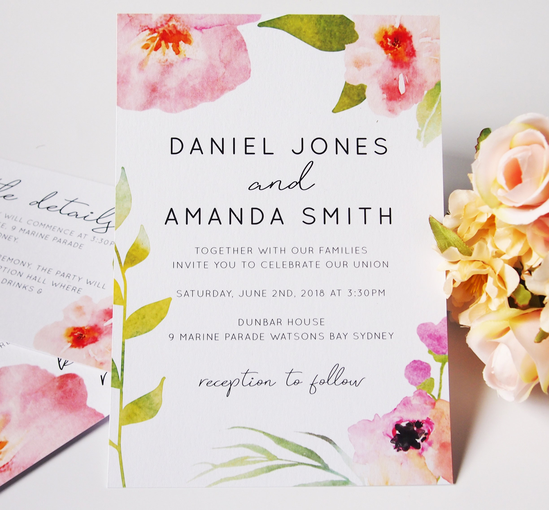 Pink Watercolour Floral Wedding Invitation Suite