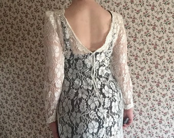 Sheer Lace Mini | 80s vintage body con puffy shoulder sleeves deep v scoop back hi low underwire black slip included avant garde DRESS s m 5