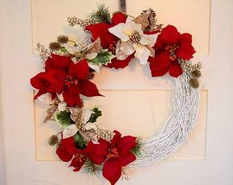 Holiday Poinsettia Wreath