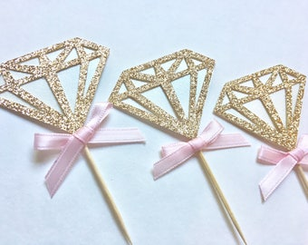 Diamond Toppers, Wedding Toppers, Gold Diamond Toppers, Set of 12