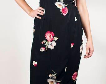 Floral Grunge Dress 90s Dress Vintage Secretary Dress Wrap Dress Black Dress Boho Dress Party Dress