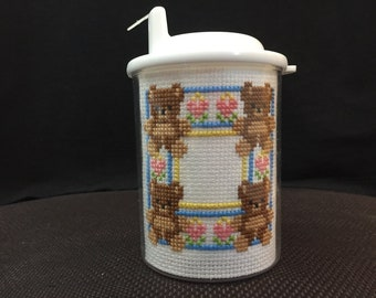 Personalized Handmade Cross Stitch 5 oz. Baby Sippy Cup with Happiness is Full Tummy and Teddy Bear Block