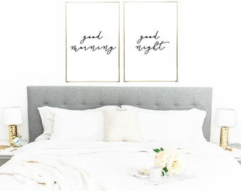 Good Morning, Good Night Print - Bedroom Art - Bedroom Decor