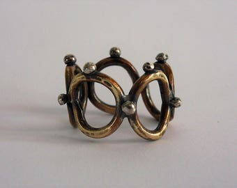 Brass and silver dots ring, oxidized ring