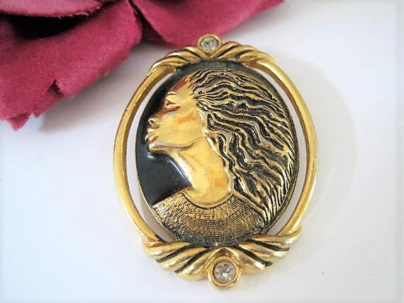 Coreen Simpson Brooch, Regal Beauty Collection, Black Woman Cameo, Rhinestone Enhanced,