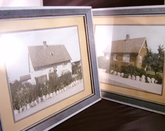 Colorized Photographs Pictures Wall Hangings of Houses Framed (Set)