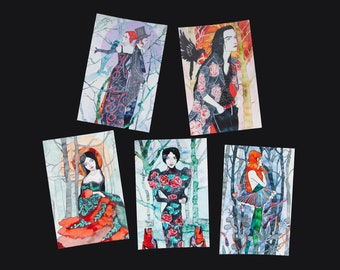 Drawing postcard set - 5 cards - Greeting card - Illustration - Ladies in the Woods - Olevus Art