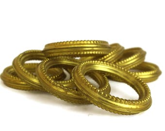 Antique Brass Curtain Rings. Set of 8 Gilt Drape Rings. French Chateau Decor. Curtain Hangers Hardware.