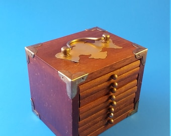 Vintage Wooden Coaster Set with Brass Details