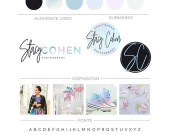 Triangle Logo Design, Geometric Branding Kit, Photography Logo and Watermark Premade Logo Branding Package Fashion Blogger Logo, Script Logo