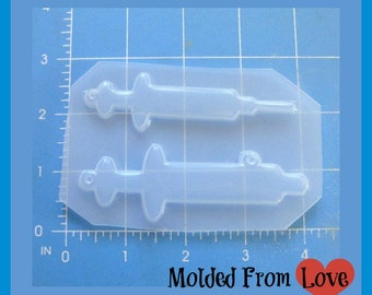 2 Syringe Blanks with Needle and without  Layered  Words  Resin  Mold