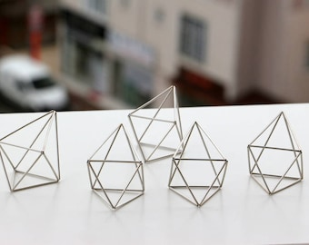 Silver Tone Wedding Center Pieces, 5 Himmeli Decor, Modern Minimalist Himmeli Mobile, Geometric Ornament, Wedding Decor