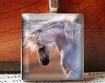 Scrabble Tile Pendant, BEAUTIFUL WHITE HORSE Painting, No. 21423 by Smash Gardens on Etsy, Bridesmaids Gifts, Stocking Stuffers