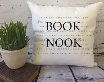 book lover graphic throw pillow cover, decorative throw pillow cover, book nook pillow