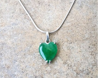 Genuine Jade Heart Necklace in Sterling Silver or Gold