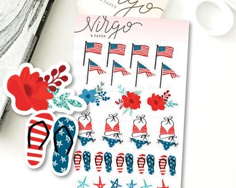 Mini Fourth of July Decorative Planner Sticker Sheet - Hand Drawn American Flag, Independence Day Red, White, Blue Planner Stickers MRWB
