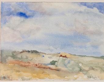 Beach Landscape Dunes Clouds Original Watercolor Painting: Kitchen Nursery Bedroom Bathroom Decor Art