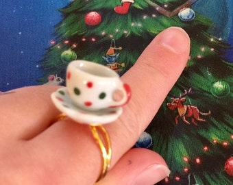 Miniature Teacup ring - Christmas inspired ring - Teacup polka dots - tea jewellery