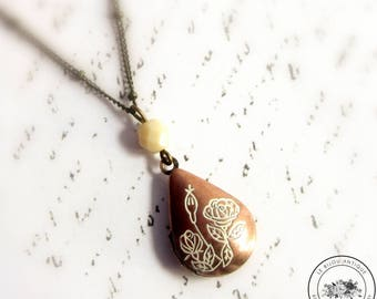 Victorian Teardrop locket necklace ivory and brown with flowers vintage keepsake with Custom Initial nature gift for her rustic