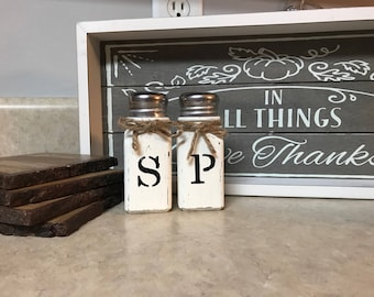 Rustic Farmhouse Salt and pepper Shaker Kitchen Decor