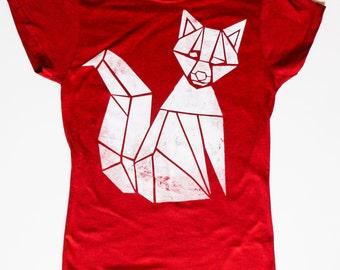 "Shirt ""FOX"" screenprint handmade fair Shirt"