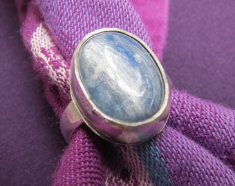 Big Icy Blue Kyanite in Classic Sterling Ring Size 9