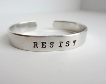 Resist Bracelet Adjustable Aluminum Bracelet Human Rights Civil Rights Women's March Nasty Woman Jewelry