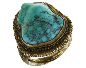 Silver filigree turquoise ring