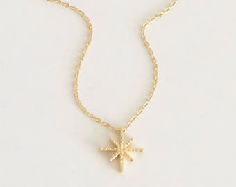 WAS 19.00, gold textured asterisk pendant necklace, dainty, small, everyday, simple, snowflake