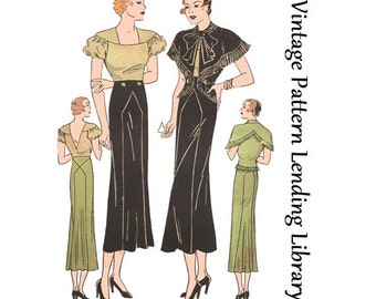 1934 Ladies Schiaparelli Ensemble - Reproduction Sewing Pattern #T2301