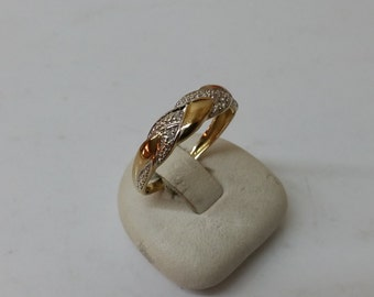 Ring 333 yellow / white gold diamond stones GR172