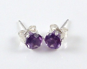 Amethyst Stud Earrings, 925 Sterling Silver Settings, Amethyst Post Earrings, February Birthstone, 4mm Tiny Dainty Studs