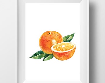 Watercolor Citrus Art, Watercolor Orange Art, Watercolor Orange Print, Watercolor Fruit Poster, Fruit Print, Watercolor Kitchen Decor Print