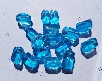 Teal fantasy shape glass Beads (8)