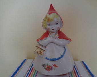 Vintage Hull Little Red Riding Hood Cookie jar with a closed Basket White Apron Blue Trim  #4