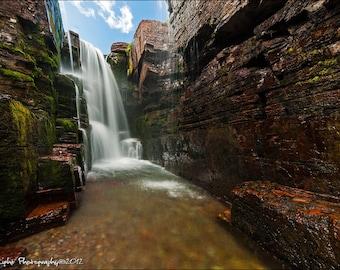 Triple Falls Waterfall Glacier National Park Artwork Landscape National Park Photo Fine Art Print