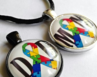 Autism Mom ,Autism Dad, Autism Puzzle Piece Ribbon Necklace Or Keychain Autism Awareness Jewelry Autism Gifts