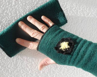 fingerless gloves linen ' polar eva green woman child