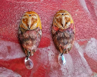 Barred owl earrings, polymer clay owls, handmade jewelry, earring charms