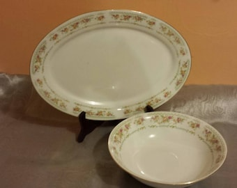 Floral China Serving Bowl and Platter
