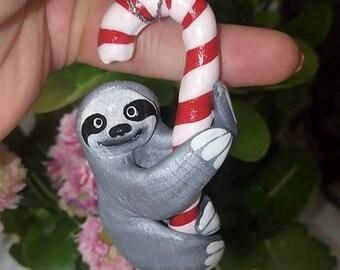 Santa Sloth Christmas Ornament - Christmas Tree Ornaments - Sloth Miniature Figurines - Sloths with Lollipop Stick