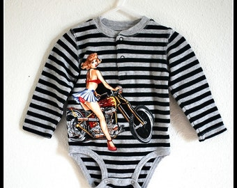 Boys Rockabilly Pinup Girl on Motorcycle Stripes Onsie