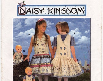 Simplicity 7629 Girl's Jumper and Doll Clothes Sewing Pattern, Daisy Kingdom Girl's Jumper Pattern Size 8 - 14, Uncut