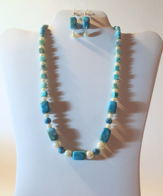 JKCE Designs Turquoise and Cream OOAK Beaded Necklace and Earring Set, Gift For Her, Classic Necklace, Classy Necklace, Ready To Ship Gift