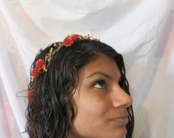 Red gold rose hair crown, simple boho hair wreath, wedding headband, bridal halo, woodland wedding hairpiece, red gold flower crown, halo