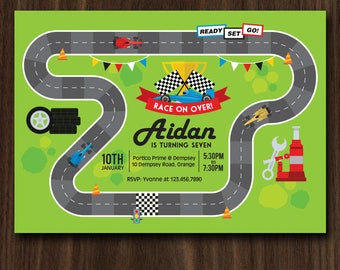 DIGITAL FILE Invitation 5x7 inches: Race Track Birthday Invitation, Race Car Birthday Invitation PDF